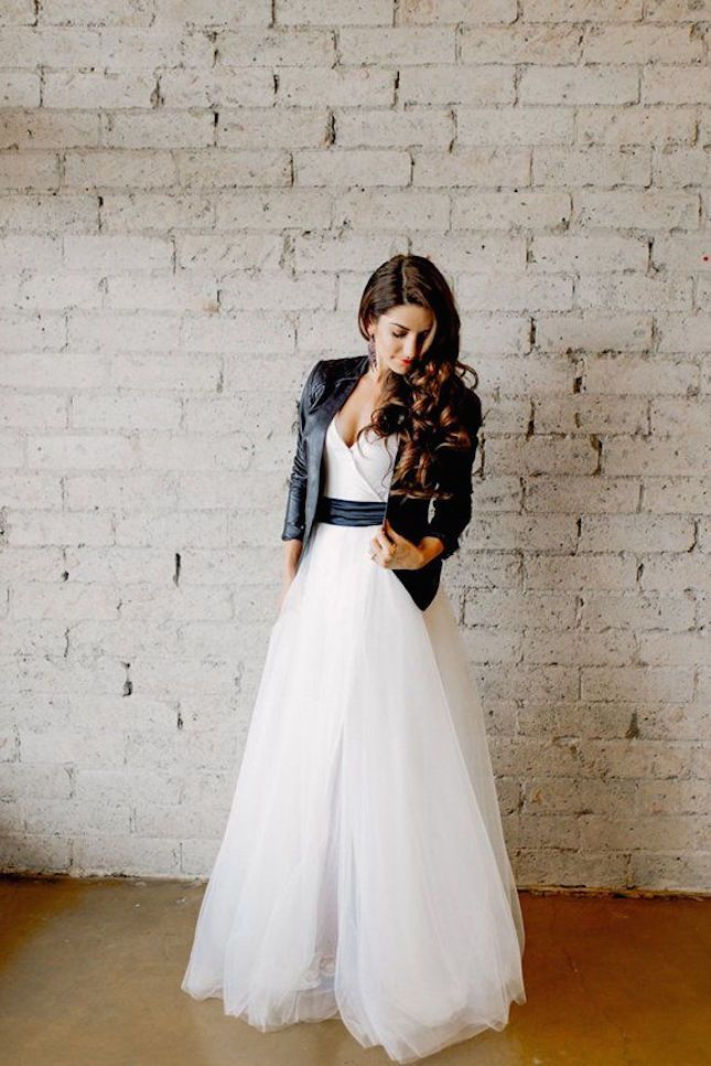 Non-traditional wedding dresses / Bridal Fashion / Cleo and Clementine Bamboo Jersey Dress with Tulle Skirt ($420): / two-piece gown / tulle skirt / leather moto jacket and ankle booties / bridal style