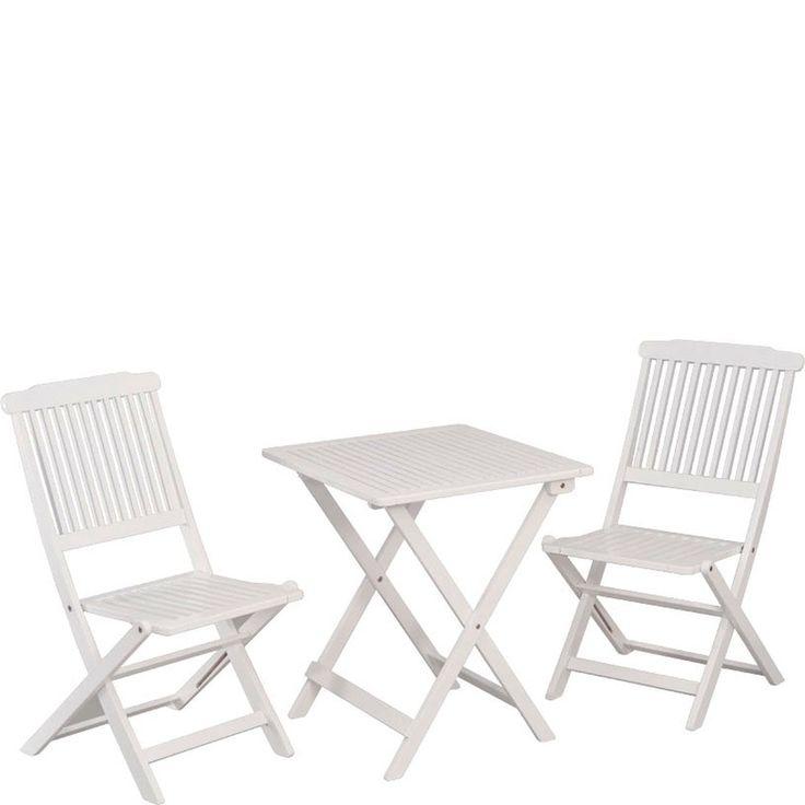 Gartenmöbel Balkon Tischgruppe Pecos 3tlg. Akazie massiv weiß online günstig kaufen