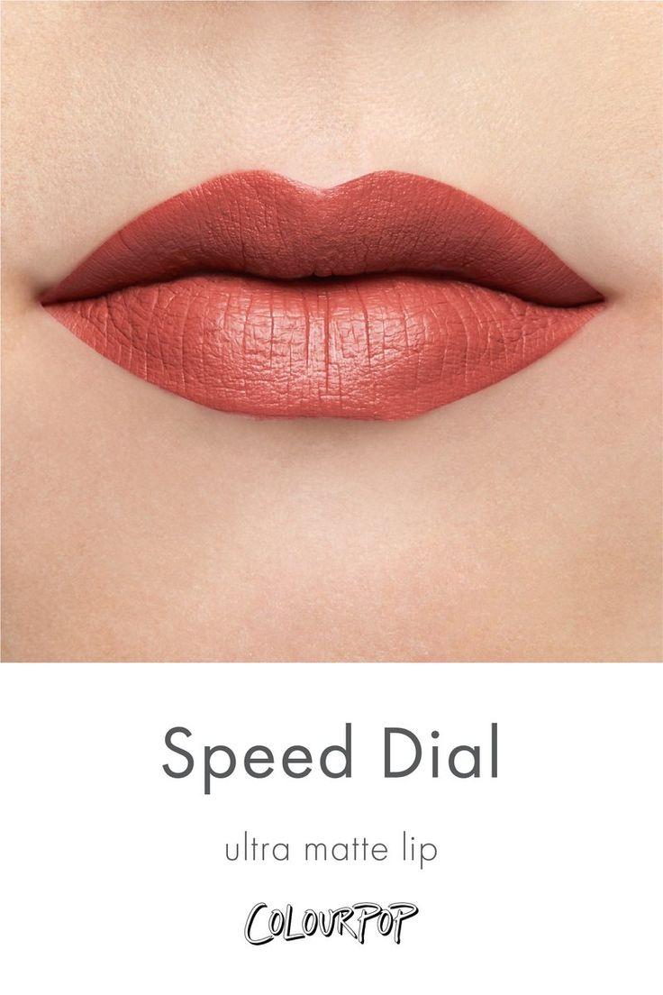 Speed Dial rich peach Ultra Matte Lipstick swatch on fair skin
