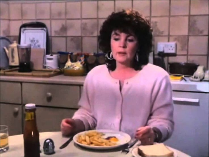 Shirley Valentine 1989 Comedy  - Feeding the steak she had bought for supper to a neighbor's dog, Shirley sits down to the chips and eggs she made for supper instead.  Despite it being steak night she serves the chips and eggs to her husband who has a fit because he wants the steak he was expecting!