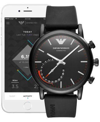 Emporio Armani Men's Connected Black Rubber Strap Hybrid Smart Watch 43mm - Black