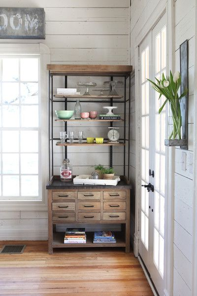 homemade version - buy a console and then make the upper portion with pipes! Joanna Gaines's Blog | HGTV Fixer Upper | Magnolia Homes