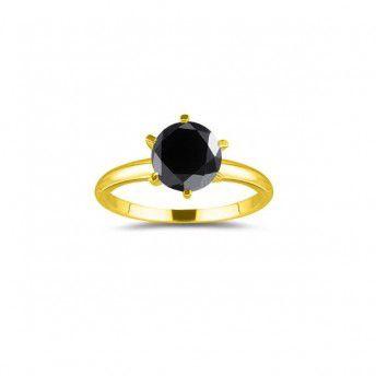 Schwarzer Diamantring 1.00 Karat aus 585er Gelbgold   Ein Diamantring aus Gelbgold mit einem 1.00 Karat schwarzen Diamanten von www.diamantring.be   #diamantring #gelbgold #schwarz #diamant