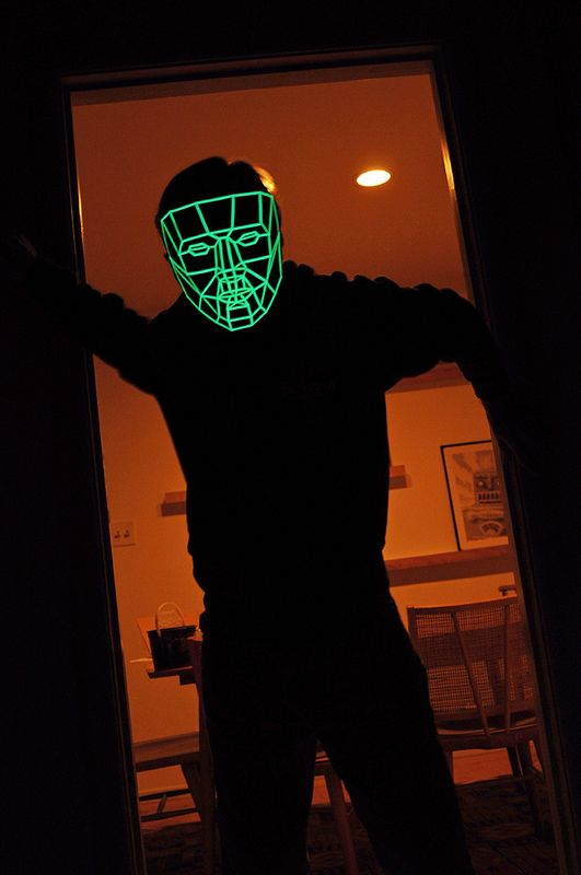 We don't live in a neon-glow 80's version of a Dystopian Big Brother state just yet (but there's still time!), though artist Kongorilla is ready to help with your Sci-Fi Anonymous needs. The Low Poly Mask is easily recreated with thick paper and glow-in-the-dark tape if you want to live in the Grid, get instructions and print out your own over at thingiverse.