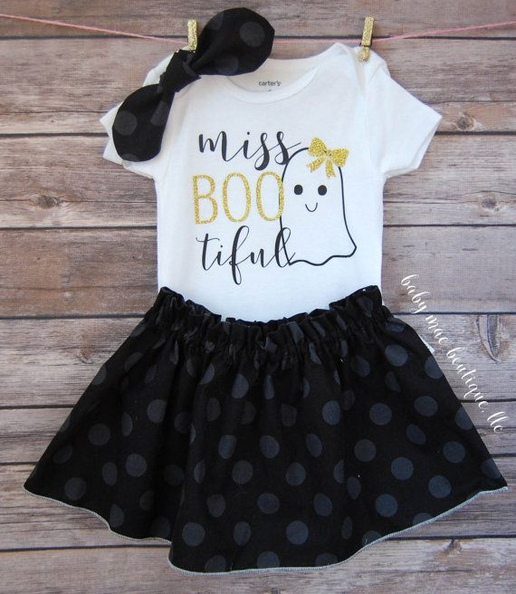 Baby Girl Halloween Outfit; Babies First Halloween Outfit; 1st Halloween; Boo…