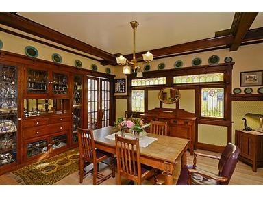 237 best craftsman dining rooms images on pinterest for Arts and crafts dining room set