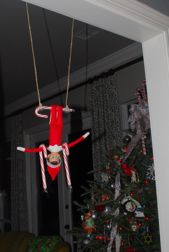 Elf on the Shelf - candy cane trapeze