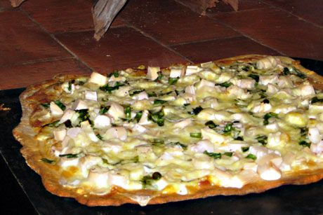 ... Brazilian oven, hearts of palm pizza with shrimp and cheese