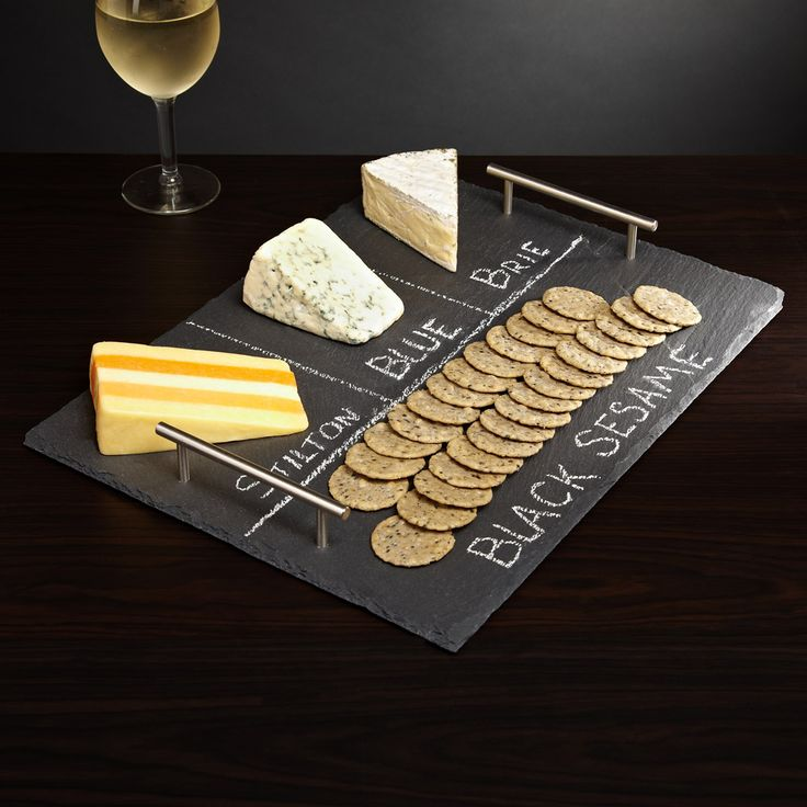 Slate Cheese Board with Handles--great for a wine and cheese party!