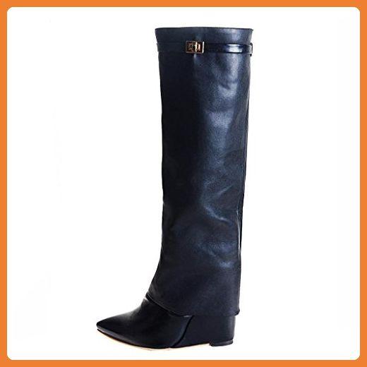 Onlymaker Damenschuhe High Heels Spitz Toe Knie Hoch Stiefel Kunstleder Schwarz EU45 - Stiefel für frauen (*Partner-Link)