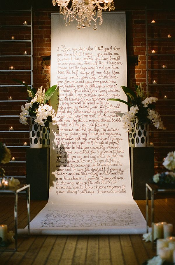 Calligraphy ceremony backdrop  Surprise Elopement Shoot by Stephanie Williams of This Modern Romance for Magnolia Rouge Magazine. Calligraphy by @Laura Hooper www.magnoliarougemagazine.com