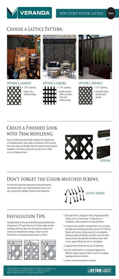 0.2 in. x 48 in. x 8 ft. Black Privacy Square Plastic Lattice-222602 - The Home Depot