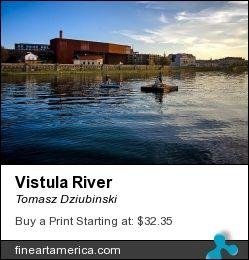 Vistula River seen from Kurlandzki boulevard. Krakow, Poland