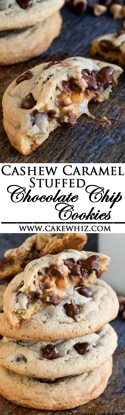 These soft and chewy CASHEW CARAMEL STUFFED CHOCOLATE CHIP COOKIES are so ooey gooey. They are huge, just like bakery style cookies and very easy to make! (Ad) From cakewhiz.com