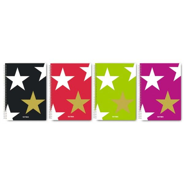 Stars - Double metallic spiral, Inside cover paper 70 gr, Cover Invercot 370 gr, Back page: 600 gr, Printing: Offset, Glossy lamination , Cover is printed with fluorescent inks