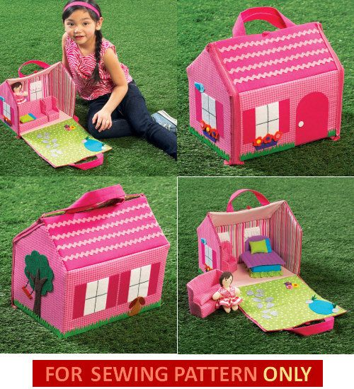 DOLL HOUSE PATTERN / Soft - Cloth Child Toy / Fold Up House With Furniture