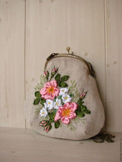 """Купить Сумочка """"Розовый шиповник"""" - подарок девушке, подарок женщине, цветочный, сумочка ручной работы"""