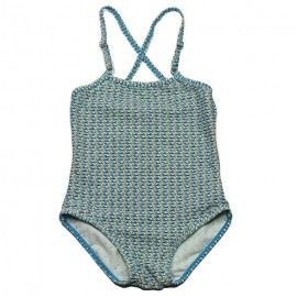 Swimsuit with adjustable crossed straps at the back, overall print in blue and black.