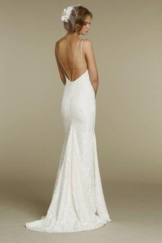 55 vestidos de noiva com decote nas costas - Decote V revelador com alças delicadas