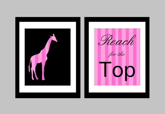 """Here we have two 8 x 10 original prints featuring a striped giraffe, and a quote """"Reach for the Top."""" Adds a modern pop of colour in any child's bedroom!    These prints are shown in pink but I can do it in any colour scheme you want! Just let me know which colors you would like in the """"note to seller"""" section upon purchase."""