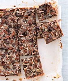 Turtle Bars Customize these layer bars with your own favorite toppings: swap walnuts for pecans or butterscotch chips for the chocolate.