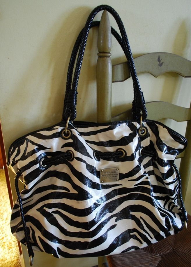 Giant Dolce And Gabbana Zebra Print Woman Leather Collection Tote Purse Great