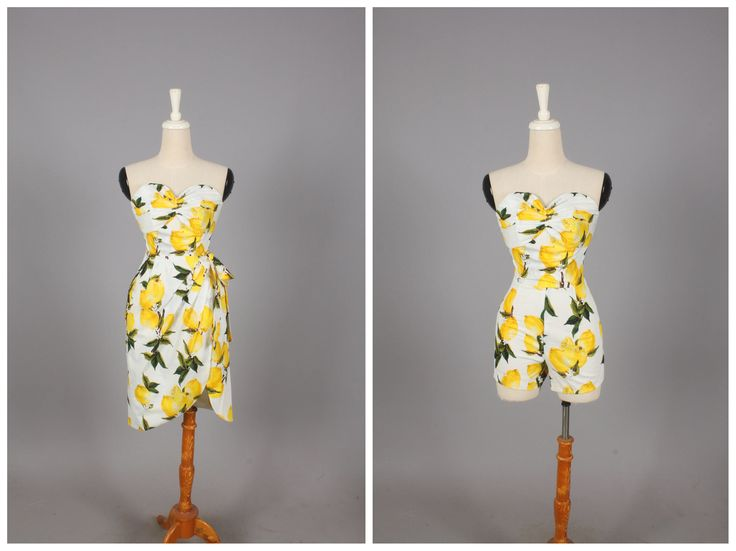 """CURSTIE 2 Piece Playsuit and Sarong Wrapped Skirt """"Freshly Squeezed"""" Retro Lemon Fruit Print Yellow Lemons by HeartsandFound on Etsy https://www.etsy.com/listing/515919790/curstie-2-piece-playsuit-and-sarong"""