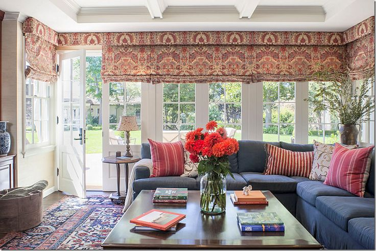 Love this printed fabric and the blue denim in the family room.