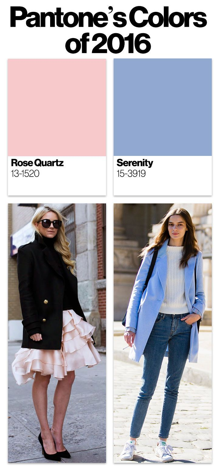 Outfit ideas with Pantone's 2016 colors of the year, Rose Quartz and Serenity - click to get inspired!