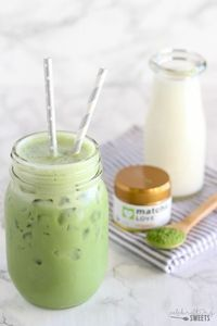 Iced Matcha Green Tea Latte - Lightly sweetened, with a subtle hint of vanilla.