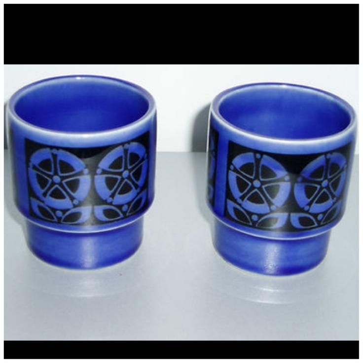 Gourmet 66 Pattern Blue Hornsea Eggcups 1966 67 Not Sure
