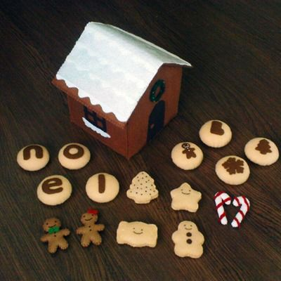 Felt christmas gift pattern set - gingerbread house man girl, cookies, candy cane, wreath (felt patterns and instructions via email
