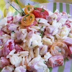 Orzo pastasalade met ham @ allrecipes.nl