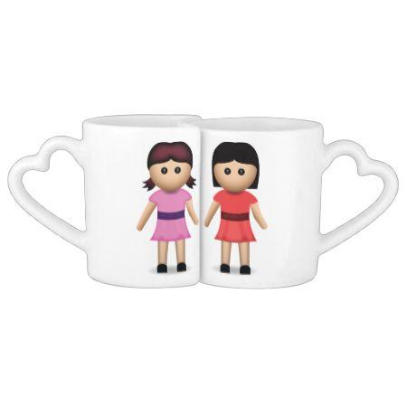 Two Women Holding Hands Emoji Lovers Mug Set