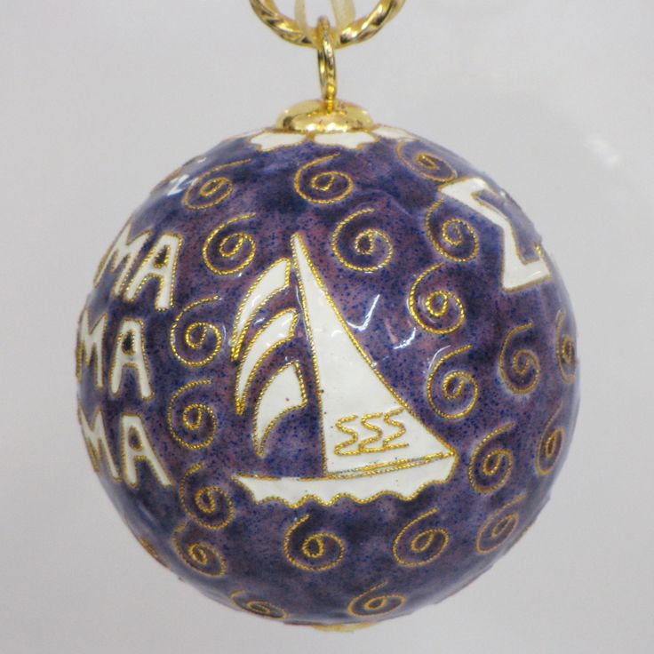 Officially licensed Sigma Sigma Sigma, handcrafted, 24k gold plated cloisonne ornament - www.KittyKeller.com