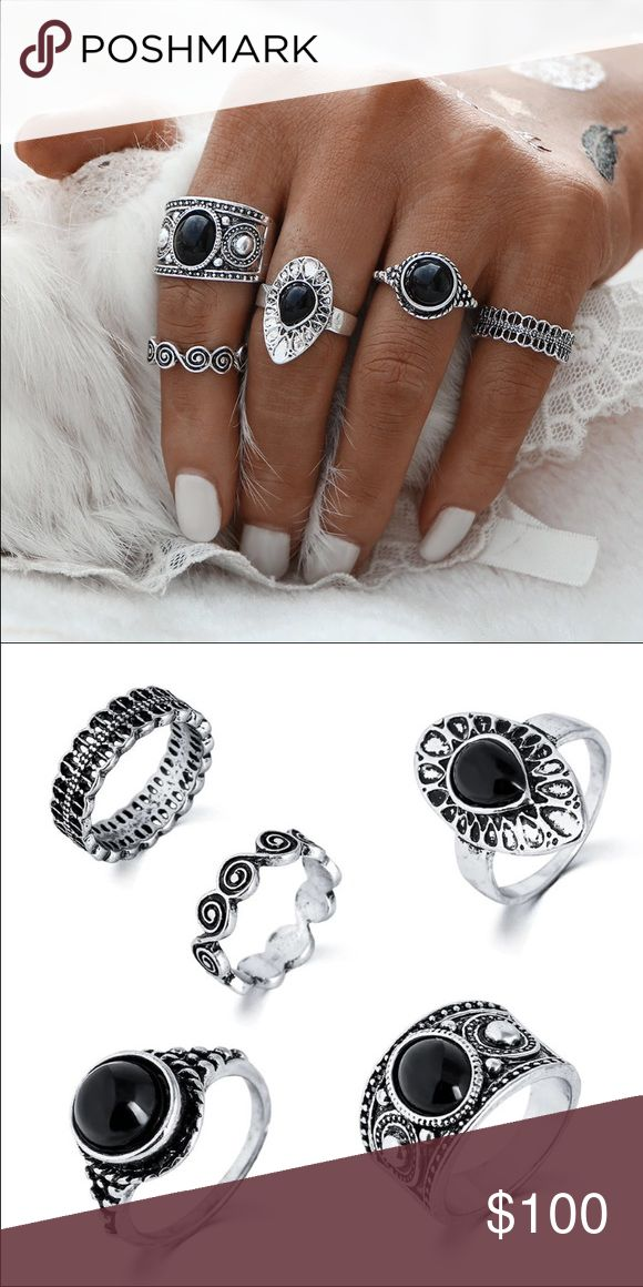 COMING SOON! Silver black ring set boho 5 5 rings total. Fits various sizes to look like model picture. Ships 1 st week of Dec. wearinla Jewelry Rings