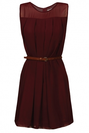 Cute maroon/burgundy dress with black tights and boots!