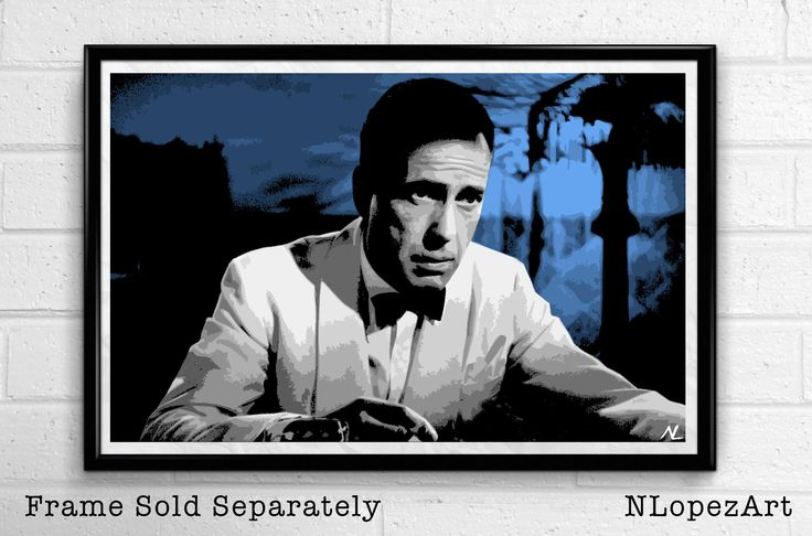 Rick Blaine Humphrey Bogart Casablanca Pop Art Poster Print #2 Size 11 x 17 for $15 + S&H. This order is printed on high quality 110lb card stock paper. Check it out at (https://www.etsy.com/listing/104528531/rick-blaine-humphrey-bogart-casablanca?ref=shop_home_active_19)