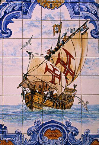Tiles showing sail ship, Algarve, Portugal