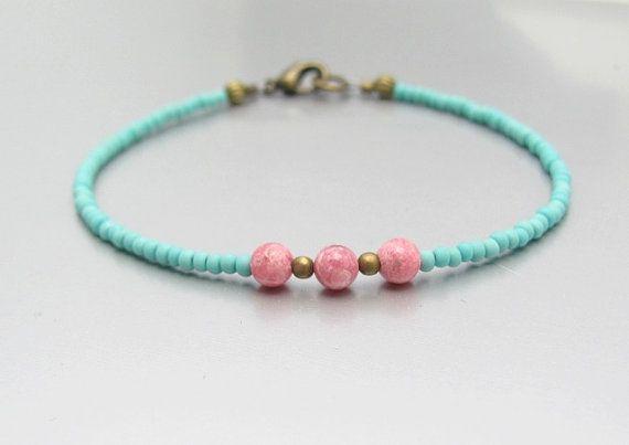 Turquoise Bracelet Modern Stone Bracelet Petite Turquoise Glass Bead Stacking Layer Bracelet Gift for Her