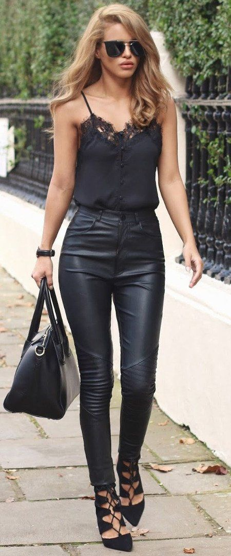 high waisted black pants + strappy top outfit