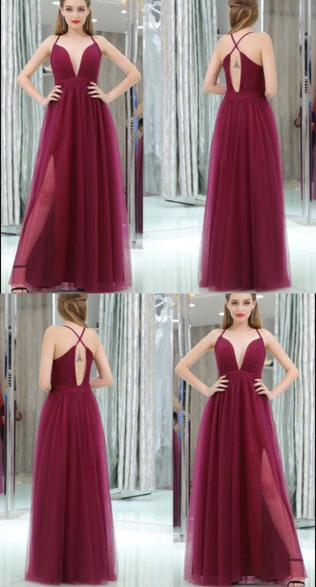 Red Cross Back Prom Dress