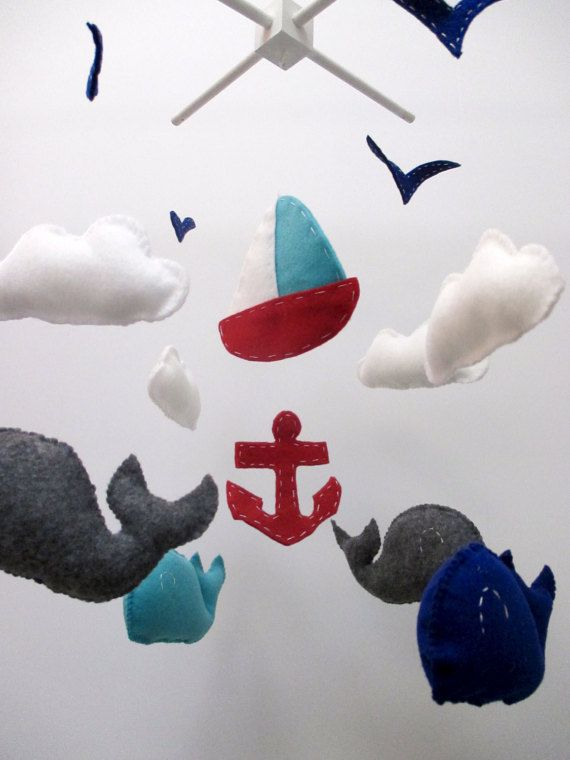 Nautical Whale Sailboat Anchor Baby Crib Mobile New by   www.etsy.com/shop/purplecowco