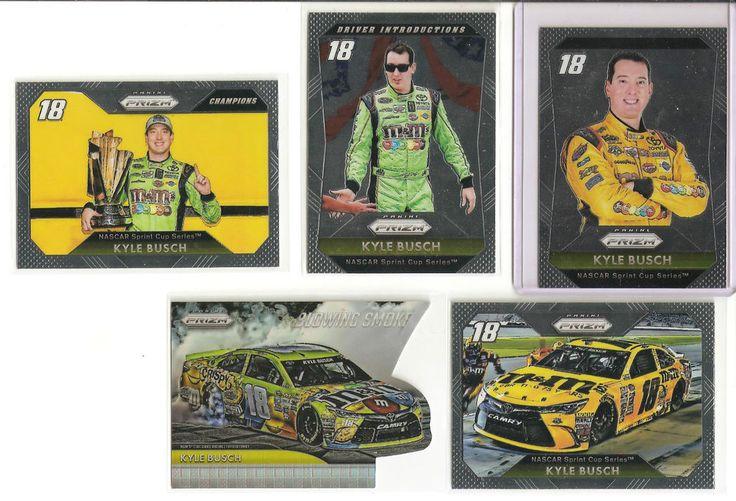 5 KYLE BUSCH CARDS 2016 PANINI PRIZM NASCAR (N°66/N°B3/N°59/N°76/N°18)