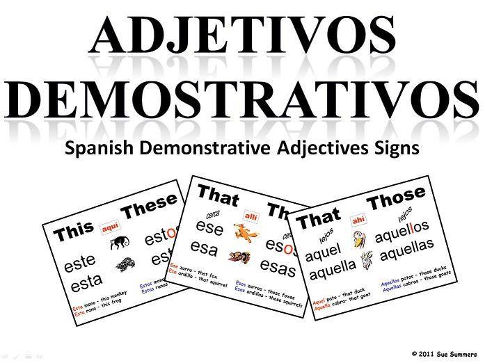 36 best demonstrative adjectives los adjetivos demonstrativos images on pinterest spanish. Black Bedroom Furniture Sets. Home Design Ideas