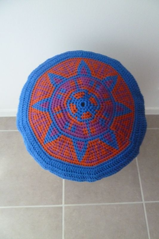 coussin, cojín, cushion tapestry crochet