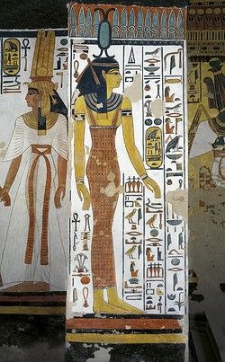 Egypt, Thebes (UNESCO World Heritage List, 1979) - Luxor - Valley of the Queens. Tomb of Nefertari. Vestibule. Mural paintings. Queen; goddess Neith (Dynasty 19, Ramses II, 1290-1224 BC) (QV66 - 333368)