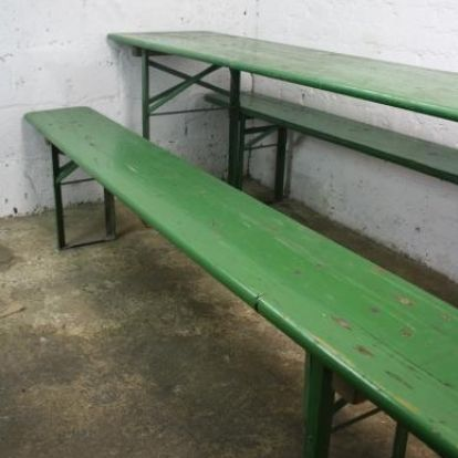 Vintage German beer table and benches in green