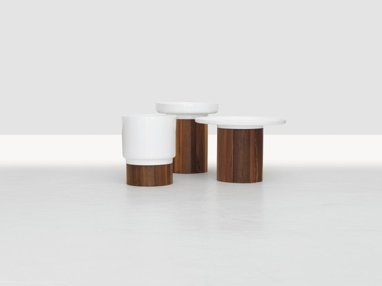 APU side tables in American walnut and porcelain by Hanna Ehlers for Zeitraum