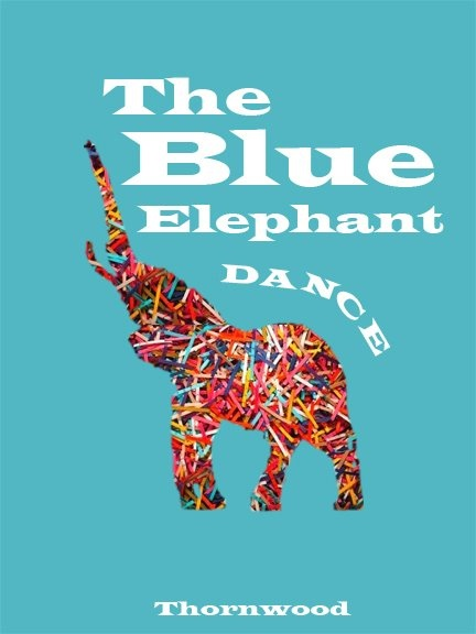 """Book cover option 2 for """"The Blue Elephant Dance."""" A mixture of children's book and retro."""